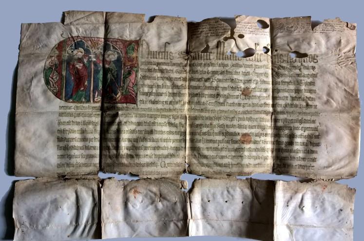 14. századi kolozsvári indulgencialevél – Fotó: Batthyány Könyvtár, Gyulafehérvár