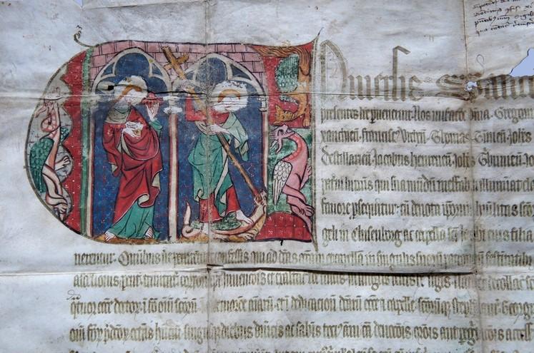 Részlet a 14. századi kolozsvári indulgencialevélről – Fotó: Batthyány Könyvtár, Gyulafehérvár
